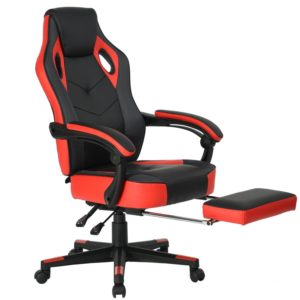Computer Gaming Chair High-Back Racing Chair with Footrest and Reclining Backrest Ergonomic Design Racing Chair –Black/Red: