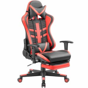 Homall Gaming Chair Ergonomic High-Back Racing Chair Pu Leather Bucket Seat, Computer Swivel Office Chair Headrest and Lumbar Support Executive Desk Chair with Footrest (Red)