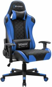 Devoko Racing Style Gaming Chair Height Adjustable Swivel PC Computer Chair with Headrest and Lumbar Support Leather Reclining Executive Office Chair (Blue)