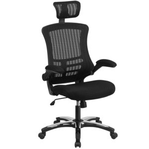 Flash Furniture High black mesh executive swirl chair with chrome plated Lylon base and flip up arms