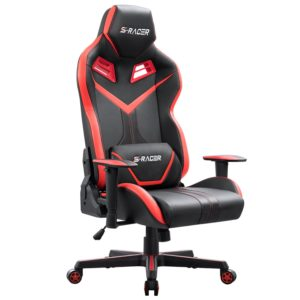 Homall S-Racer Series Gaming Chair Executive Swivel Office Chair Ergonomic Racing Chair High Back Desk PU Leather Computer Chair Tilt E-Sports Chair with Headrest and Lumbar Support (Red)