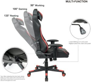 LCH Racing Style Gaming Chair with Headrest and Lumbar Support, High-Back Ergonomic PU Computer Chair Height Adjustable Swivel, Reclining Executive Office Chair, 400 Lbs, Red