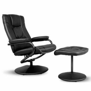 Giantex PU Leather Swivel Recliner Chair with Footrest Stool Ottoman Armchair Lounge Overstuffed Padded Seat, Leather Wrapped Base Home Office Use (Black)