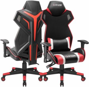 Homall Gaming Chair Racing Style Office Chair High Back Computer Desk Chair Ergonomic Swivel Chair Breathable Mesh Back Bucket Seat Chair with Adjustable Armrest (Red, 1 Pack)