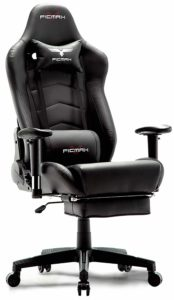 Ficmax Ergonomic Gaming Chair Racing Style Office Chair Recliner Computer Chair PU Leather High-Back E-Sports Chair Height Adjustable Gaming Office Desk Chair with Massage Lumbar Support and Footrest: