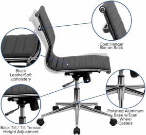 Flash Furniture Mid-Back Armless Black Ribbed LeatherSoft Swivel Conference Office Chair, BIFMA Certified