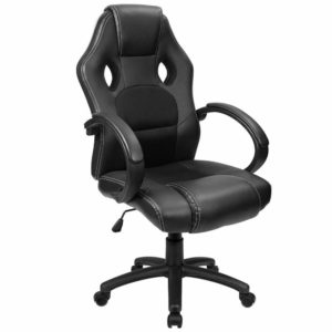 Furmax Office Chair Desk Leather Gaming Chair, High Back Ergonomic Adjustable Racing Chair, Task Swivel Executive Computer Chair Headrest and Lumbar Support (Black):