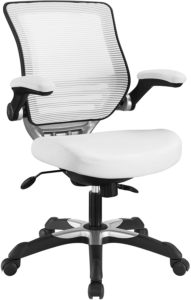 Modway Edge Mesh Back and White Vinyl Seat Office Chair With Flip-Up Arms - Computer Desks in White