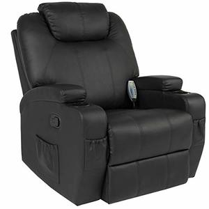 Choice Products Executive PU Leather Swivel Electric Massage Recliner Chair w/ Remote Control, 5 Heat & Vibration Modes, 2 Cup Holders, 4 Pockets - Black: