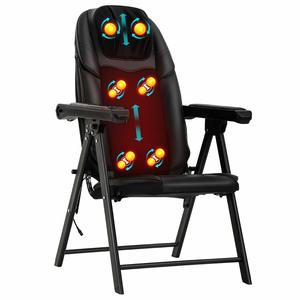 Chair Back Recliner Chair Shiatsu Kneading Heat Function Folding Portable Vibration Seat Massager for Home Office, Black: