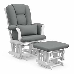 Storkcraft Tuscany Custom Glider and Ottoman with Lumbar Pillow, White/Grey
