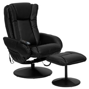 Wrapped Base Flash Furniture Massaging Black Leather Recliner and Ottoman with Leather