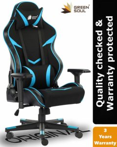 Green Soul Monster Series Gaming/Ergonomic Healthy Chair in Fabric and PU Leather (Black and Blue, Large)