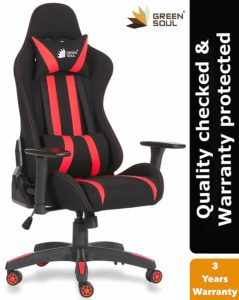 Green Soul Fabric and PU Leather Beast Gaming Ergonomic Chair (Black and Red; Medium)